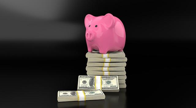 spořící prasátko stojí na balíčcích bankovek